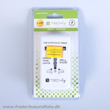 Techly universal rejseadaptor m. 2 USB udgange
