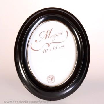 Mozart Oval ramme 10x15 Sort m/guld