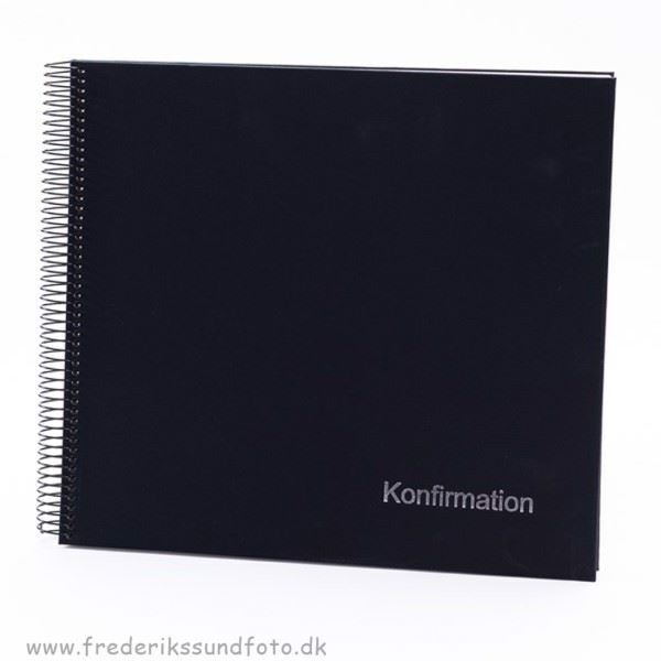 GB Konfirmation Spiral album 30x34 sort m/DK tekst