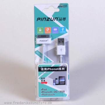 Pinzun iPhone 4/iPad USB Sync. kabel hvid