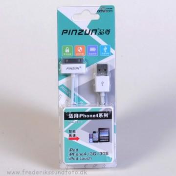 Pinzun iPhone 4/iPad USB Sync. kabel hvid