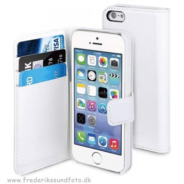 Muvit iPhone 5 WalletCase m. holder t. 3 kort Hvid