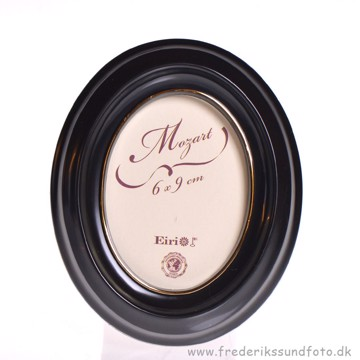 Mozart Oval ramme 6x9 Sort m/guld