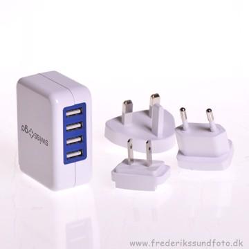 Swiss Go Oplader m/ 4 USB 3.4A