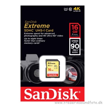 SanDisk SDHC 16GB 90MB/s Extreme UHS-1 U3 C10