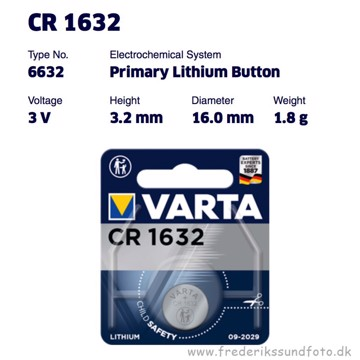 Varta CR1632 Lithium batteri